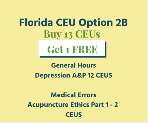 Acupuncture Continuing Education Florida Option 2B CEU Package